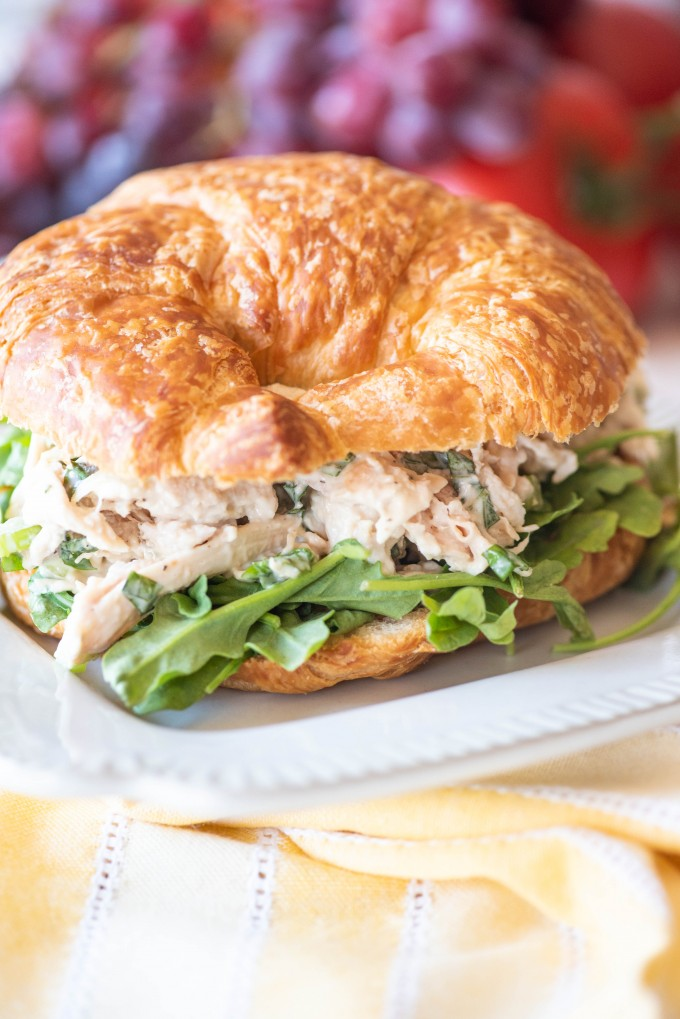 Close up of easy rotisserie chicken salad
