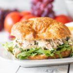 Easy rotisserie chicken salad sandwich on a plate