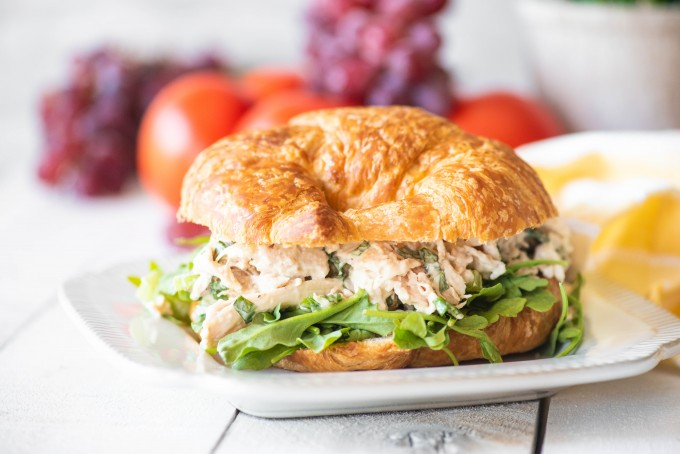 Easy rotisserie chicken salad sandwich on a plate