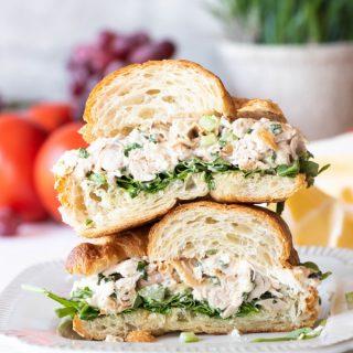 Best rotisserie chicken salad sandwich cut in half