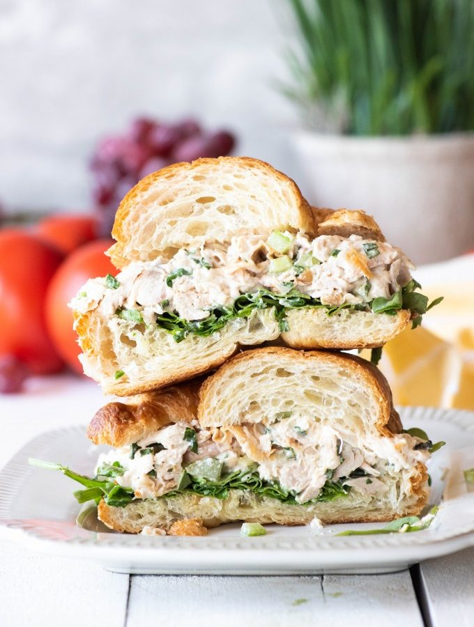 Best rotisserie chicken salad sandwich cut in half
