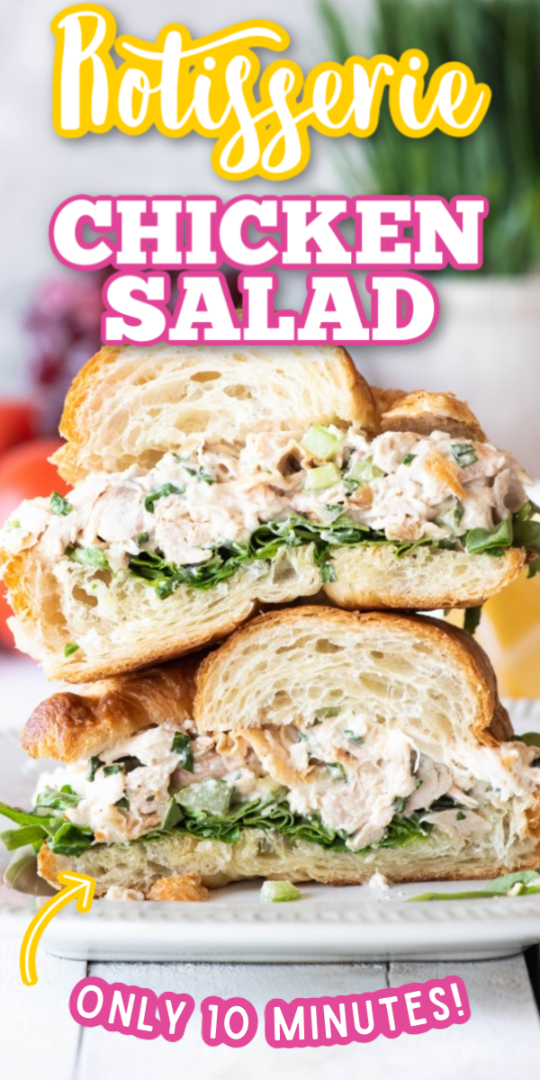 This is the best easy Rotisserie Chicken Salad recipe out there! Made creamy with Greek yogurt, yet crunchy with grapes and celery, this classic and simple sandwich is a great healthy lunch option! #rotisseriechickensalad #classicchickensalad #easychickensalad #gogogogourmet via @gogogogourmet