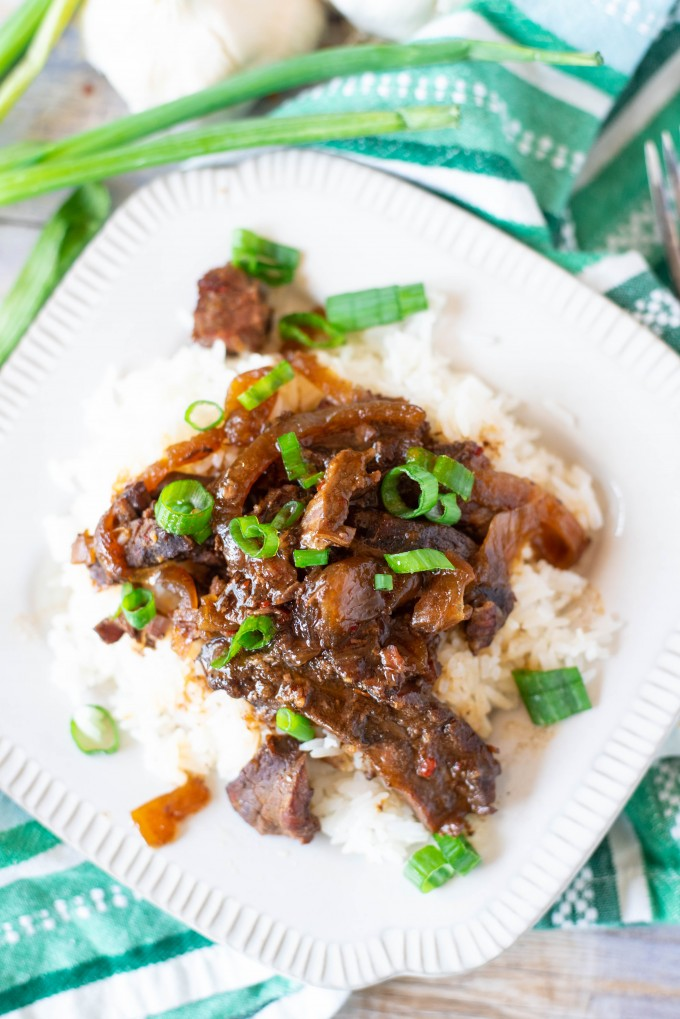 Mongolian Beef Recipe over rice