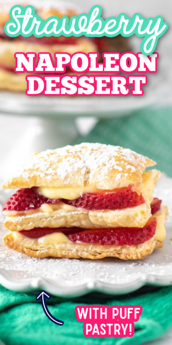 This easy Strawberry Napoleon dessert recipe (also known as mille feuille) is a classic French dessert with layers of puff pastry, fruit and custard. They are perfectly sweet and delightful! #napoleondessert #strawberrynapoleon #frenchdesserts #gogogogourmet via @gogogogourmet