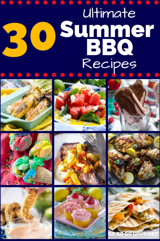 This list of the Best Summer BBQ Recipes has everything you need for your summer cookouts! Whether you're cooking meat for a crowd or just want an easy dinner to cook on the grill, these dinners, sides and desserts will be your one-stop-shop! #summerbbqrecipes #summerbarbecueideas #summerdinnerideas #easydinnerrecipes #gogogogourmet