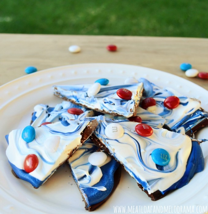 red white and blue chocolate bark on a plate