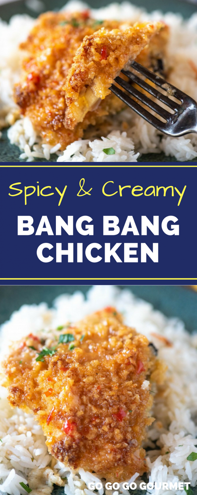 Are you obsessed with the Bang Bang Shrimp from Bonefish Grill? This easy Bang Bang Chicken recipe has all the copycat spicy, creamy flavor of their most popular sauce, but with a change in protein! It's great served over rice or even pasta. #easycopycatrecipes #bangbangshrimp #bangbangchicken #gogogogourmet via @gogogogourmet