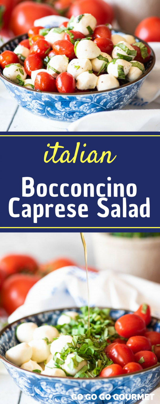 This easy Bocconcino Caprese Salad recipe is the best appetizer for a crowd! With tons of authentic flavor, and balsamic glaze for the dressing, it just can't be beat. It would even be great with grilled chicken, or mixed in some pasta! #bocconcinocapresesalad #capresesalad #easysummerrecipes #italiancapresesalad #gogogogourmet