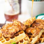 Chicken and Waffles with Sriracha Honey