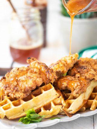 Chicken and Waffles with Sriracha Honey