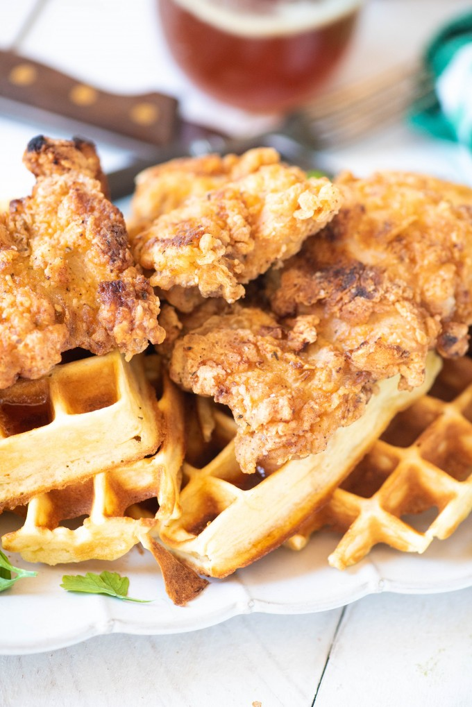 Crispy Chicken and Waffles with Sriracha Honey