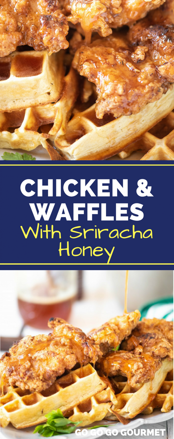 This easy, Southern-style Chicken and Waffles recipe is perfect for your next brunch! Paired with a sweet and spicy honey sriracha sauce, you can serve it as either an appetizer, breakfast or lunch! #chickenandwaffles #easychickenandwafflesrecipe #easybrunchrecipes #gogogogourmet via @gogogogourmet