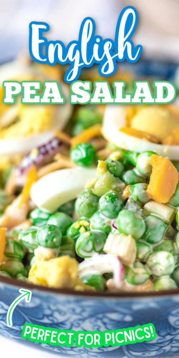 Looking for some new lunch ideas? This easy English Pea Salad is one of the best recipes out there! This pea salad is served cold, so it's perfect for summer BBQs. You can even add some extra flavor with bacon! #peasalad #creamypeasaladrecipes #summerbbqrecipes #gogogogourmet via @gogogogourmet