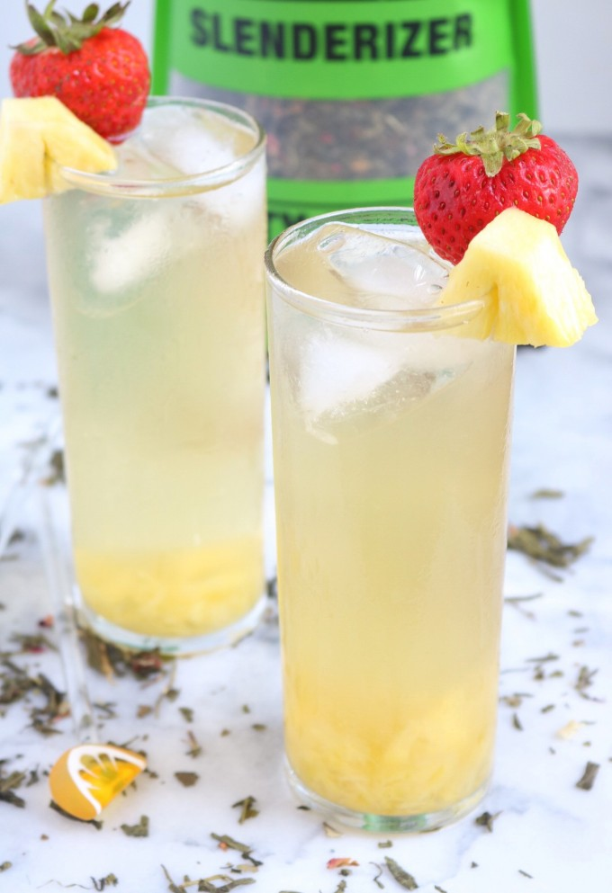 Two tall glasses of green tea spritzers