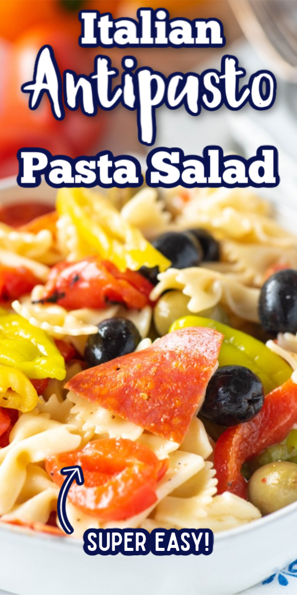 This easy Italian Antipasto Pasta Salad is one my favorite pasta salad recipes! Full of olives, roasted red peppers, pepperoni, Italian dressing and cheese, this will be your go to dish for all of your family get togethers! #antipastopastasalad #pastasaladrecipes #easypastasaladrecipes #gogogogourmet via @gogogogourmet