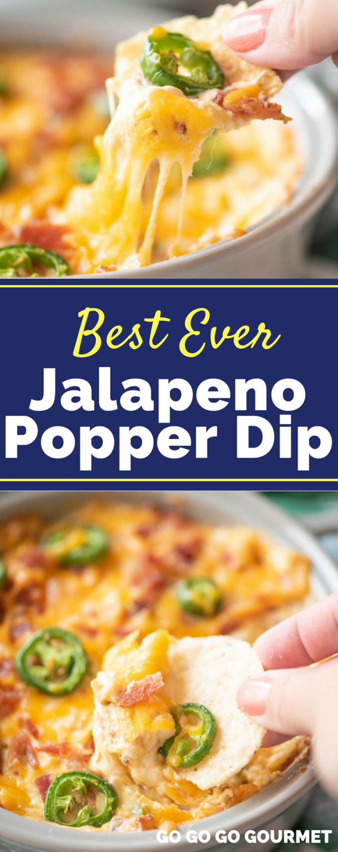 This easy Jalapeno Popper Dip is the best ever appetizer! This dip is perfectly creamy and spicy with just the right amount of bacon. Best serves with Ritz crackers, or even tortilla chips! #jalapenopopperdip #easyappetizerrecipes #easyappetizer #gogogogourmet