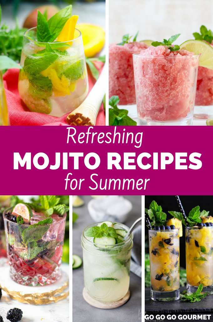 Whether you're making them in a pitcher, or one for yourself, these refreshing  mojito recipes are so easy! From classic and traditional with mint and lime to flavors like strawberry, blueberry, mango and even coconut, your summer won't be complete without these recipes! #refreshingmojitorecipes #mojitorecipes #summercocktails #easysummerdrinks #gogogogourmet