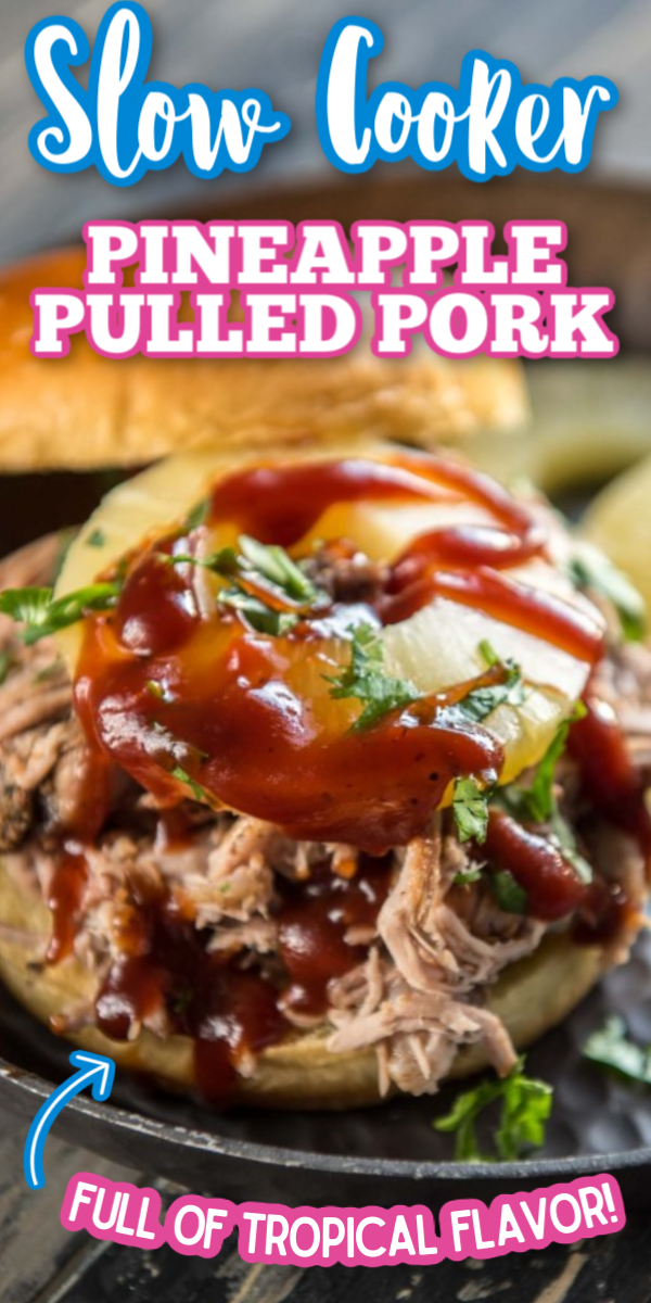 This Slow Cooker Pineapple Pulled Pork recipe is perfect for any summer BBQ! Piled high with barbecue sauce an a slice of pineapple, it makes great tacos or even sliders! Utilize your crockpot to make cooking easy this summer. #pineapplepulledpork #slowcookerrecipes #easycrockpotrecipes #gogogogourmet via @gogogogourmet