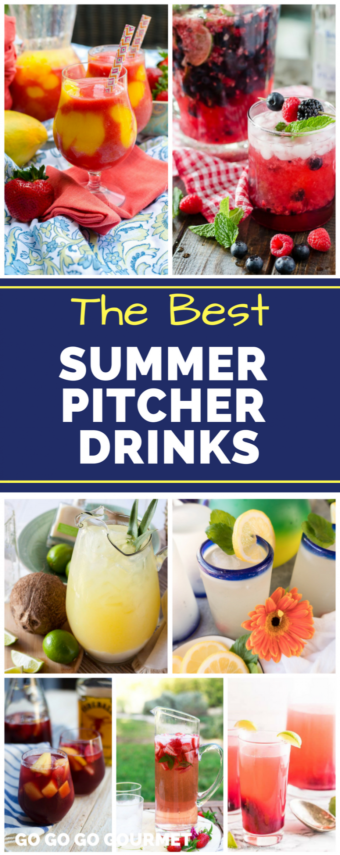 Whether alcoholic or non-alcoholic, these Summer Pitcher Drinks are a great way to serve cocktails for a crowd! Your summer party won't be complete without at least one of these easy recipes! #summerpitcherdrinks #cocktailsforacrowd #easysummercocktails #gogogogourmet via @gogogogourmet