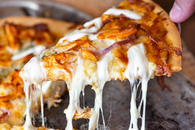 Buffalo Chicken Pizza with buffalo ranch