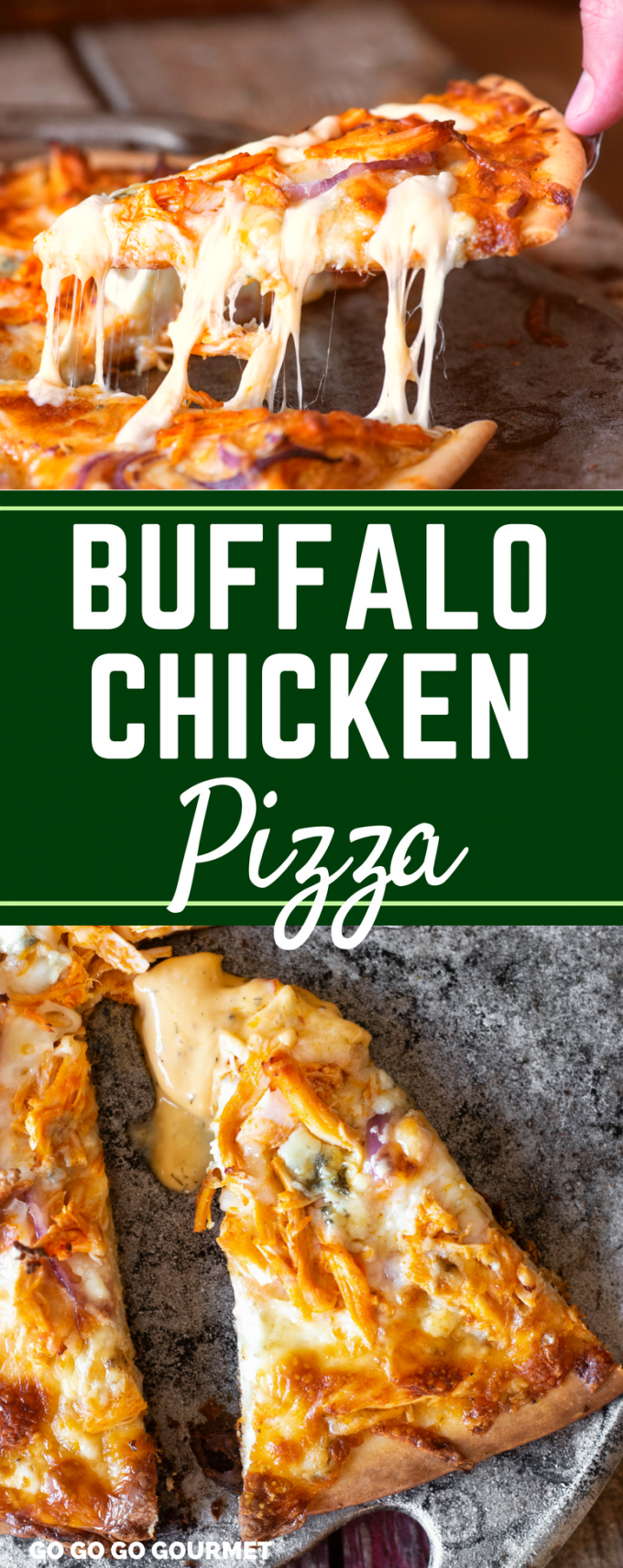 This easy Buffalo Chicken Pizza Recipe is a homemade family favorite! Topped with blue cheese and mozzarella, the spicy buffalo ranch sauce is what MAKES this! via @gogogogourmet