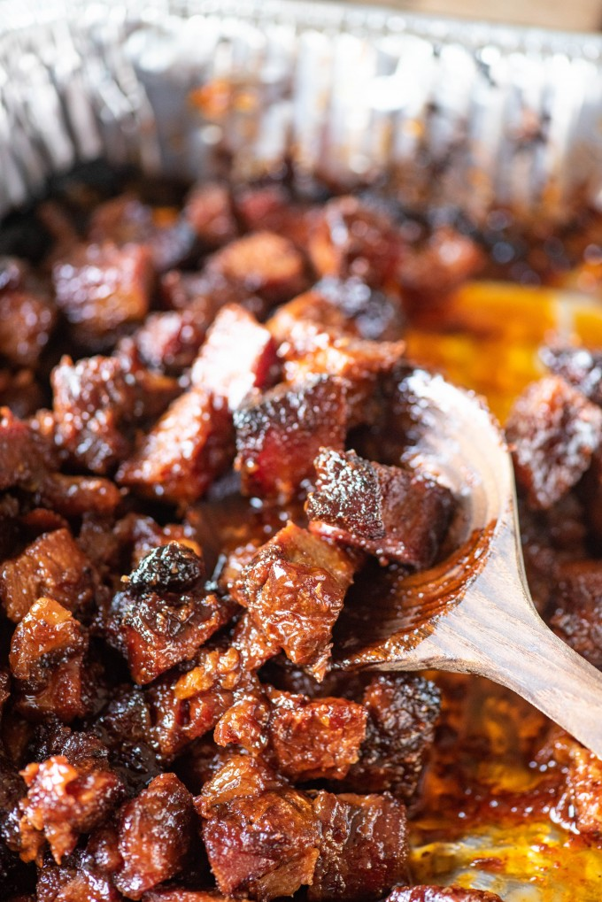 Burnt Ends from the Smoker using Pork Shoulder, Picnic Roast, Pork Side or Pork Belly