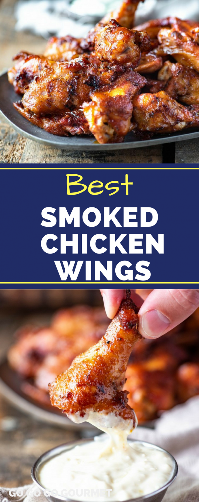 Get your smokers ready, this is the most amazing Smoked Chicken Wings recipe! With a perfectly seasoned rub, these crispy wings will be your new favorite! #smokedchickenwings #smokerrecipes #bestsmokedchickenwings #gogogogourmet