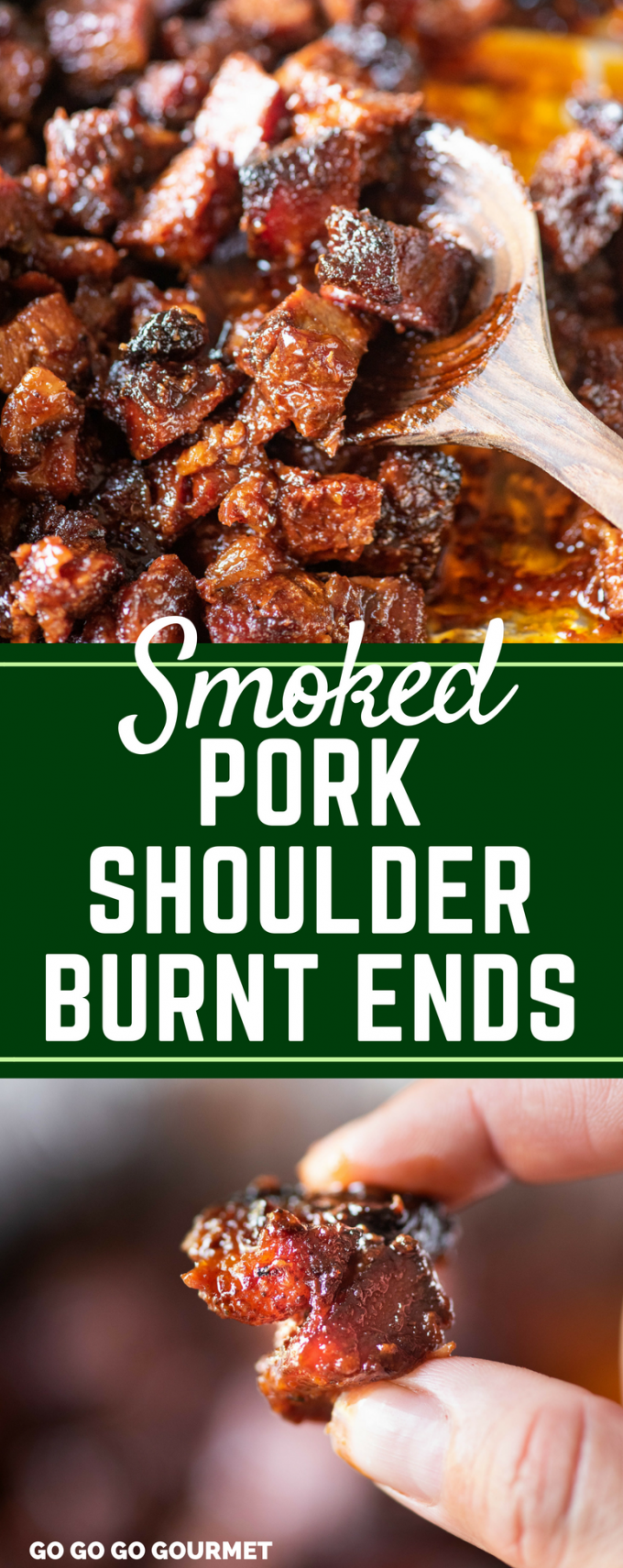 These smoked burnt ends are made with pork shoulder- so easy, juicy and tender! With only a few ingredients, this is one of the best smoked recipes! #smokedporkshoulderburntends #porkshoulderrecipes #porkrecipes #gogogogourmet via @gogogogourmet