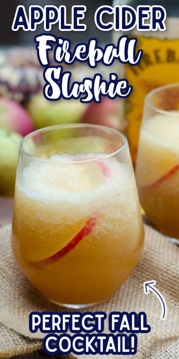 This Fireball Apple Cider Slushie Cocktail is one of the best drinks for the holidays and fall! Fire in Ice uses Fireball Whiskey, apple cider and a splash of ginger beer to make one of your new favorite fall drink recipes! #fireinice #fireballcocktails #fireballappleciderslushiecocktail #gogogogourmet via @gogogogourmet