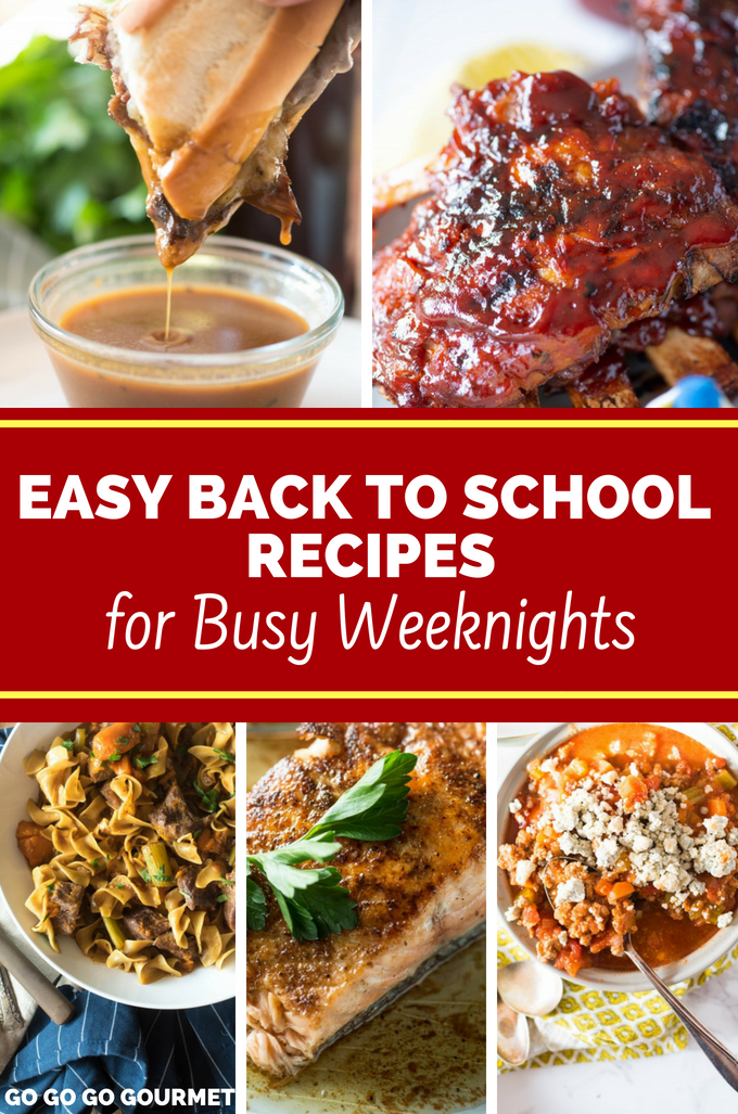 Back to school time means less time for dinner, so these easy back to school recipes are here to save the day! From Instant Pot and slow cooker recipes to one pan meals, these dinners are quick and easy without lacking on flavor. #backtoschooldinners #easydinnerrecipes #quickdinnerrecipes #gogogogourmet via @gogogogourmet