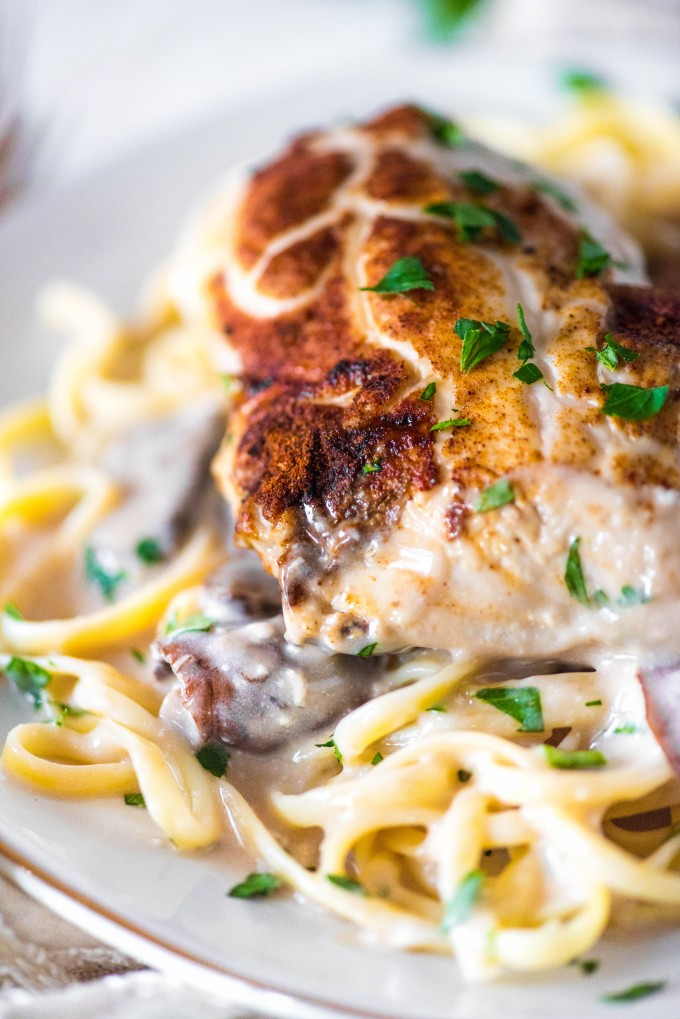 Cream of mushroom chicken over noodles