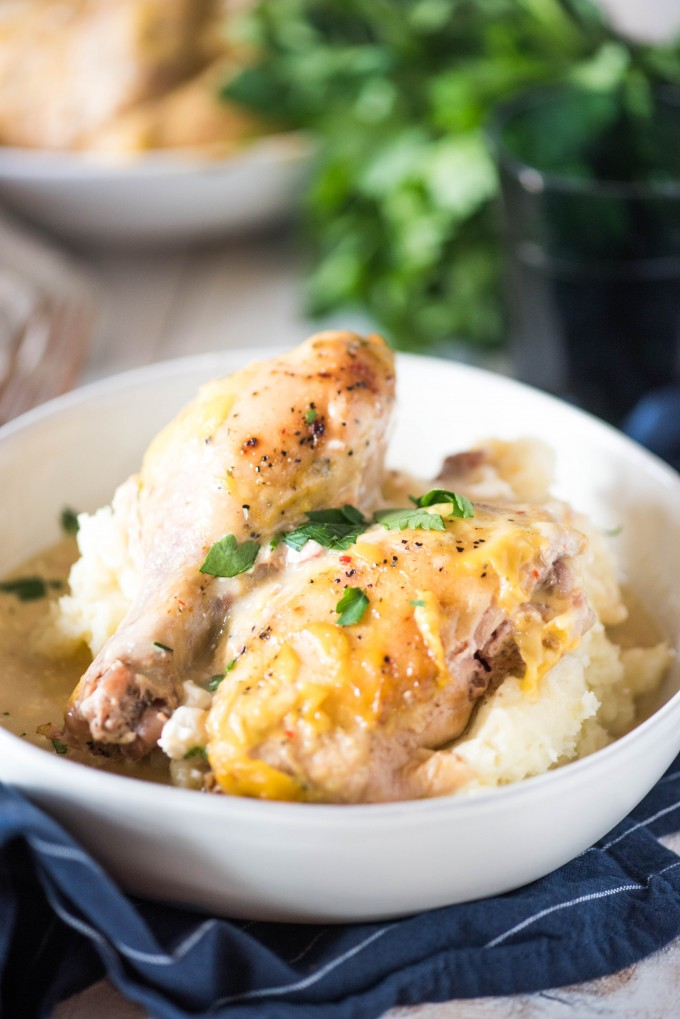 Creamy Italian chicken in a white bowl