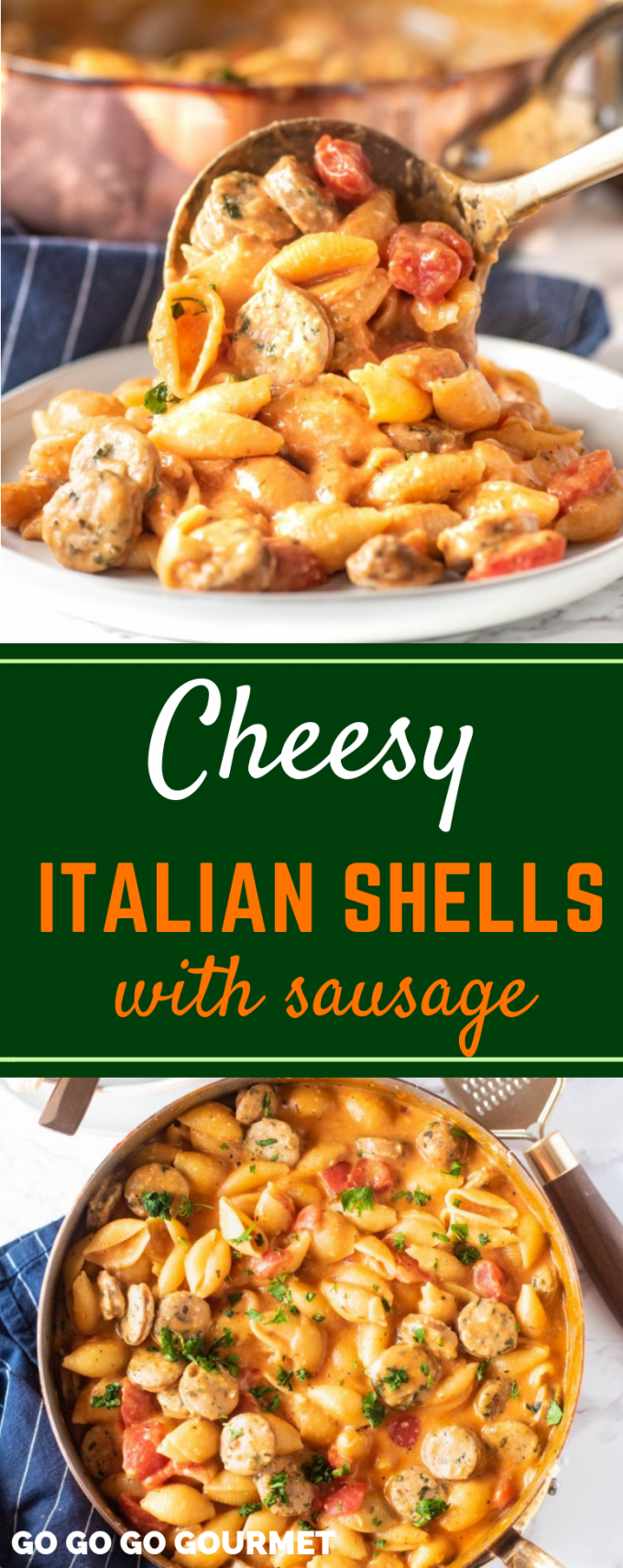 When the weather gets cold, I start craving comfort foods! One of my favorite pasta dishes is this copycat Hamburger Helper Cheesy Italian Shells with Sausage! If you're like me, you like easy dinners, and this one pot recipe is so easy! #easycopycatrecipes #onepotmeals #cheesyitalianshells #gogogogourmet