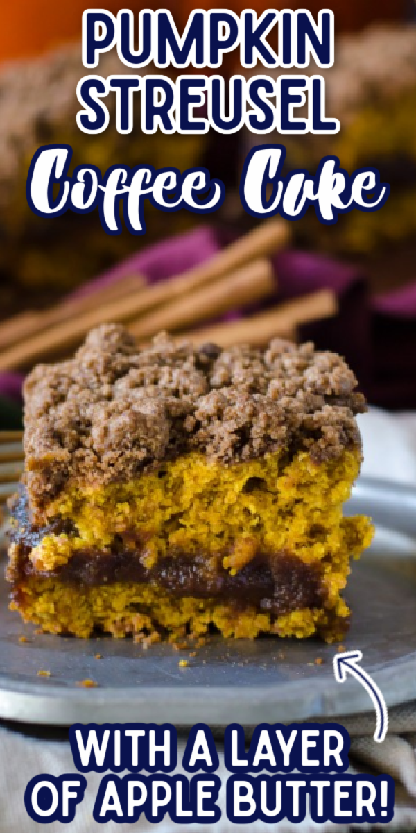 This Pumpkin Coffee Cake is one of the best fall recipes! Chock full of cinnamon with an apple butter filling, it is so moist and delicious. Topped with streusel that's super easy to make, you can't go wrong! #pumpkinstreuselcoffeecake #easyfalldesserts #pumpkinrecipes #gogogogourmet via @gogogogourmet