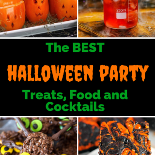 Collage of spooky party food ideas