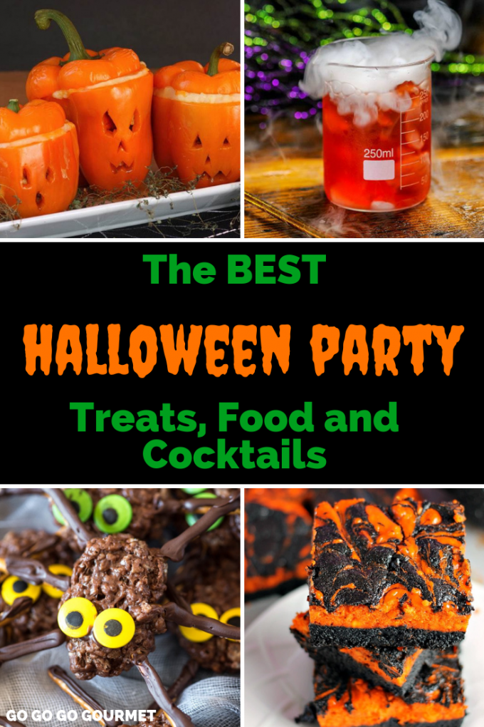 Whether you're planning a Halloween party for kids or for adults, these easy Halloween Party ideas include desserts, dinner, appetizers and drinks! Spooky fun for all ages! #gogogogourmet #halloweenparyfoodideas #halloweenfood #halloweendrinks via @gogogogourmet