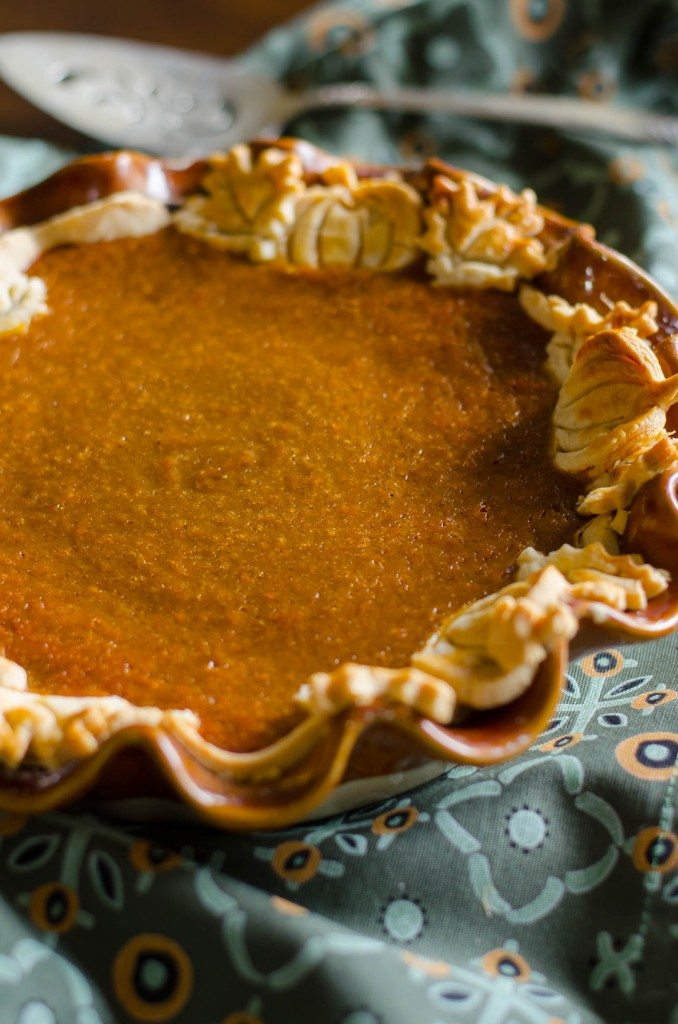 Perfect pumpkin pie in a scalloped pie dish
