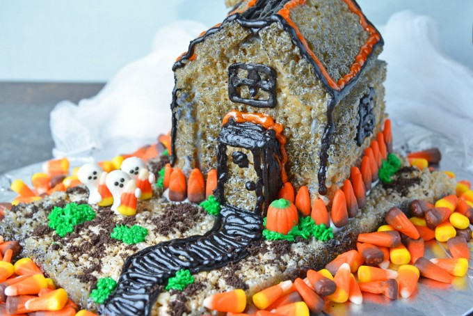 Rice krispie treat haunted house on a tray