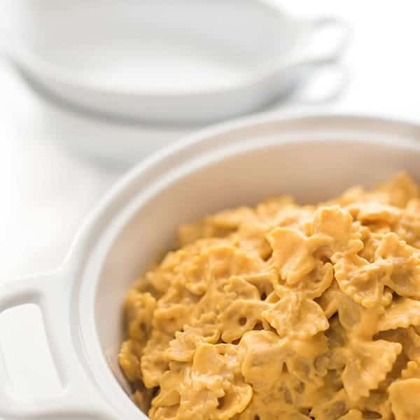Pumpkin mac and cheese in a  white bowl