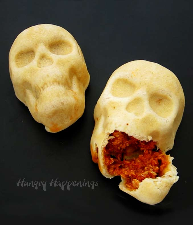 Enchilada skulls cut open