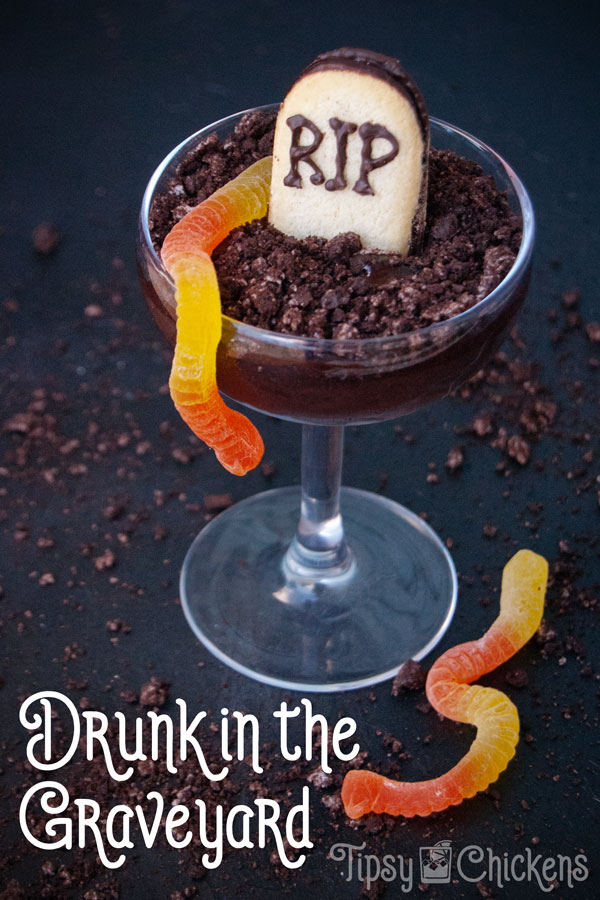 Graveyard chocolate pudding in a glass