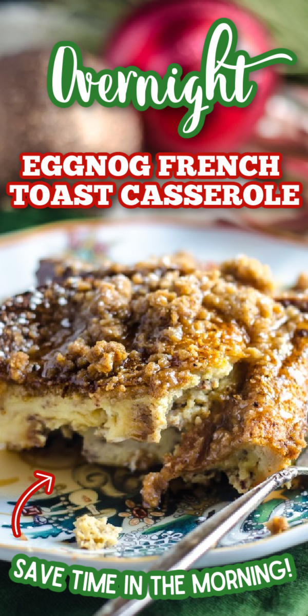 This Overnight Eggnog French Toast Casserole recipe is perfect for the holidays! Wake up on Christmas morning and this easy breakfast is ready to bake! #gogogogourmet #eggnogfrenchtoast #overnighteggnogfrenchtoastcasserole #christmasmorningbreakfast via @gogogogourmet