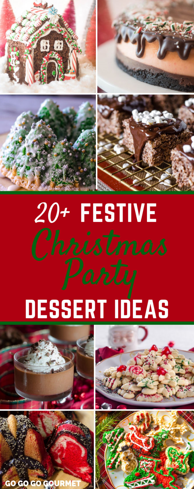 These festive Christmas Party Dessert recipes are totally amazing! Ranging from fancy and elegant to cute and creative, these easy desserts are total show stoppers! Some are even easy enough for the kids to help with! From cakes to cookies and everything in between, you are going to love these ideas! #GoGoGoGourmet #ChristmasDesserts #ChristmasPartyDessertIdeas via @gogogogourmet