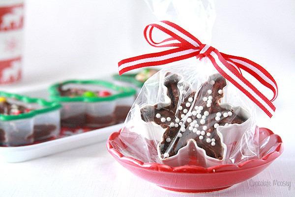 Cookie cutter fudge wrapped in a treat bag - christmas desserts
