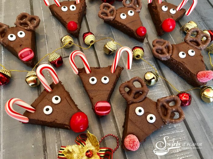 Reindeer brownies on a board - christmas desserts