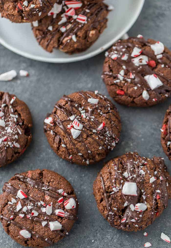Double chocolate peppermint cookies on a board - christmas desserts