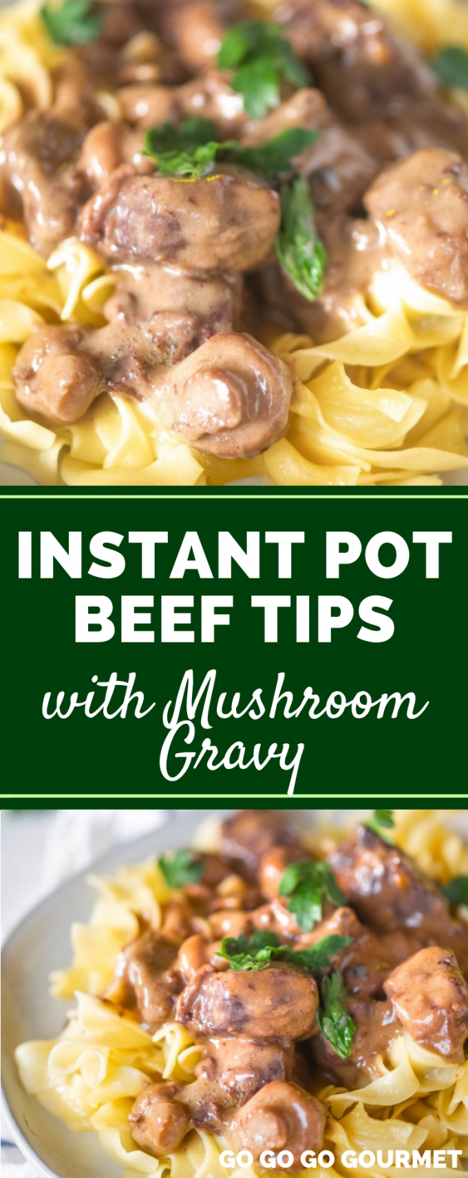 This easy Instant Pot Beef Tips recipe is swimming in delicious mushrooms and gravy! While it's not healthy or Whole 30 compliant, it is a comfort food that the whole family will enjoy! Best served over rice, noodles or mashed potatoes. #gogogogourmet #instantpotbeeftips #easyinstantpotrecipes #comfortfoodrecipes via @gogogogourmet