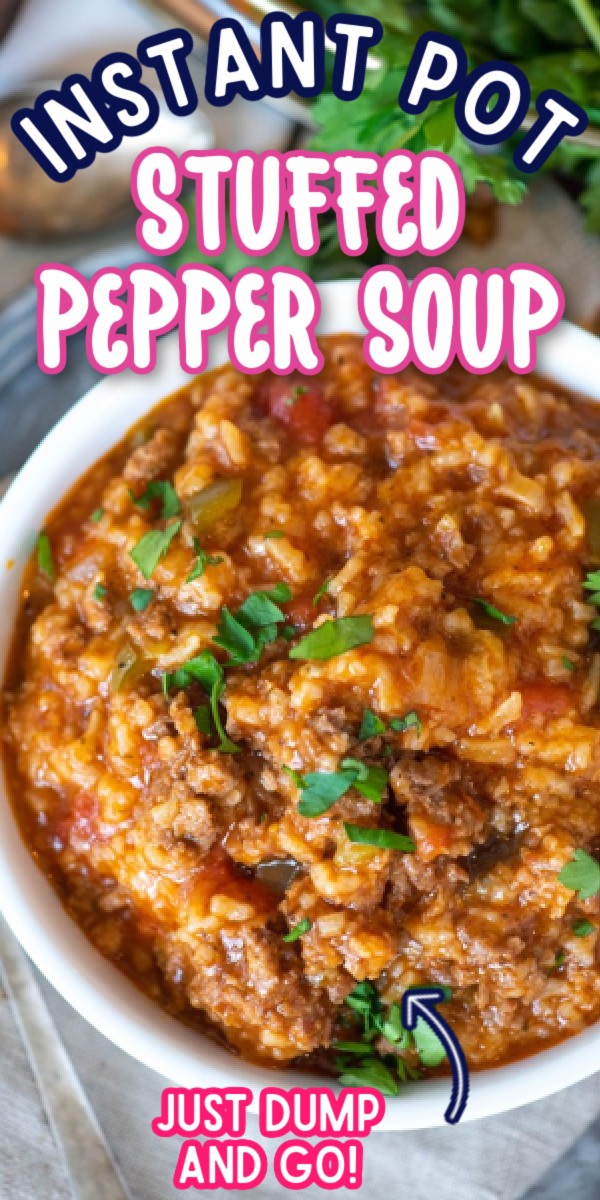 Even better than the Skinny Taste or Allrecipes recipes, this easy Instant Pot Stuffed Pepper Soup recipe is the best! It's the ultimate comfort food for cold weather! Making soup in the Instant Pot is so much quicker than the crockpot or on the stovetop! #gogogogourmet #instantpotstuffedpeppersoup #easyinstantpotrecipes #stuffedpeppersoup #comfortfoodrecipes via @gogogogourmet