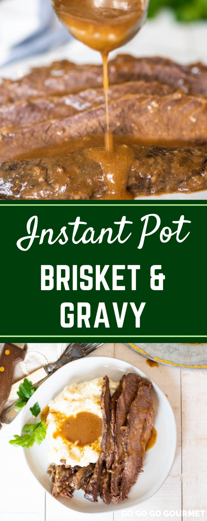 Pressure cooking just got a whole lot better thanks to this Instant Pot Tender Brisket and Gravy recipe! This easy brisket doesn't use BBQ or red wine, but rather soup and gravy mixes to give it an amazing flavor. You could even turn the leftovers into tacos! #gogogogourmet #instantpotbrisketandgravy #easyinstantpotrecipes #pressurecookerrecipes