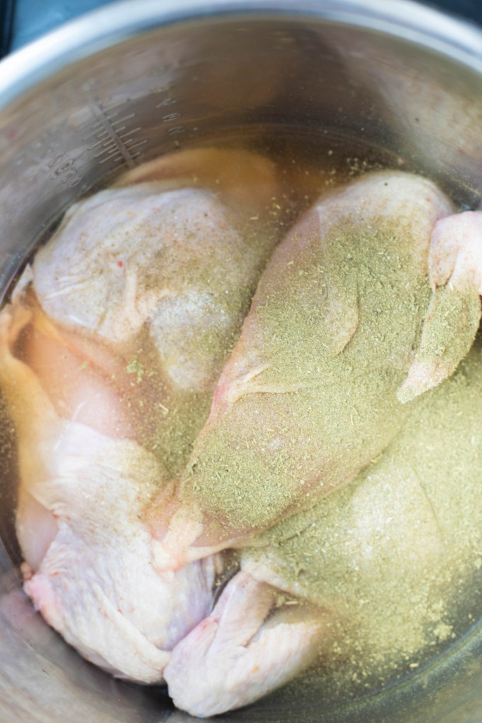 Seasoned chicken in the Instant Pot for Instant Pot Chicken and Dumplings